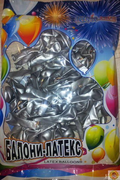 Малки кръгли балони- сребърно, 12см, 100бр.