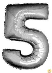 Фолиев балон цифра 5,сребърен - голям-80см
