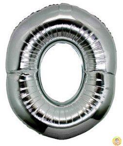 Фолиев балон цифра 0,сребърен - голям-80см
