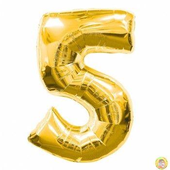 Фолиев балон цифра 5,златен - голям-80см