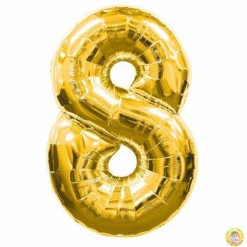 Фолиев балон цифра 8,златен - голям-80см