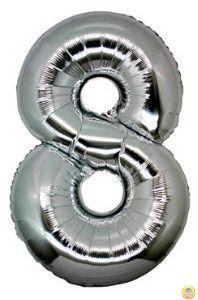 Фолиев балон цифра 8,сребърен - гигант-100см