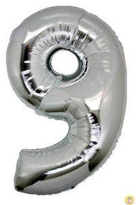 Фолиев балон цифра 9,сребърен - гигант-100см