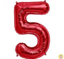 Фолиев балон цифра 5,червен - голям-80см