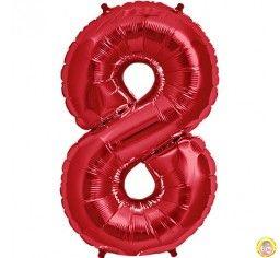 Фолиев балон цифра 8,червен - голям-80см