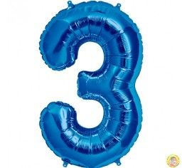 Фолиев балон цифра 3,син - голям-80см