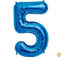 Фолиев балон цифра 5,син - голям-80см